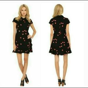 Kate Spade Floral Print Ruffle Collared Dress